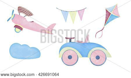 Watercolor Aquarelle Set For Kids Children. Car Kite Airplane And Flags In The Clouds On White Backg