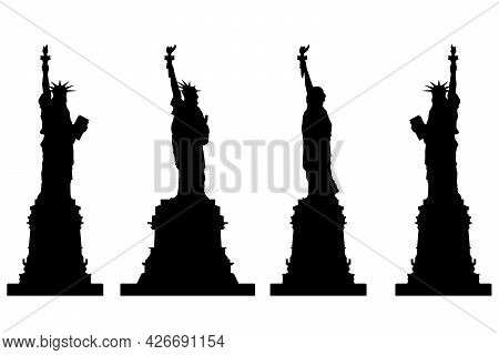 Set With Silhouettes Of The Statue Of Liberty In Different Positions Isolated On A White Background.