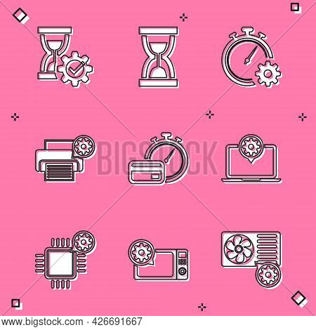Set Hourglass Setting, Old Hourglass With Sand, Time Management, Printer, Fast Payments And Laptop I