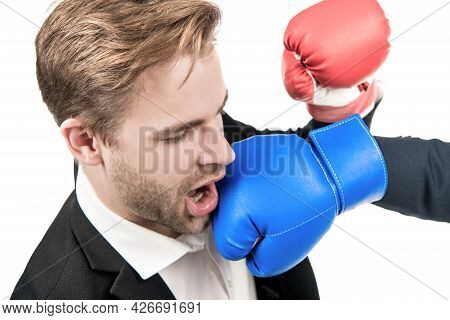 Lose Situation. Businessman Punched In Face. Young Man Punched With Boxing Glove. Defeated In Fight