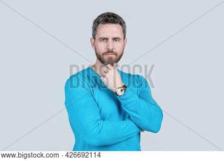 Handsome Mature Man With Beard On Grey Background With Wristwatch, Accessory