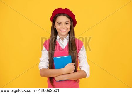 Study Exam. Cheerful Kid In Beret Ready To Study. Smiling Child With Book.