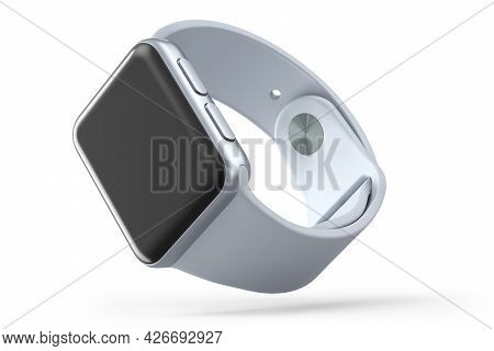 Stainless Silver Smart Watch With White Strap Isolated On White Background. 3d Rendering Concept Of