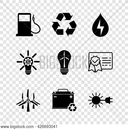 Set Petrol Or Gas Station, Recycle Symbol, Water Energy, Wind Turbines, Car Battery With Recycle, Su