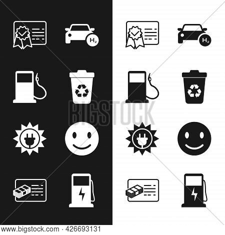 Set Recycle Bin With Recycle, Petrol Or Gas Station, Certificate Template, Hydrogen Car, Solar Energ