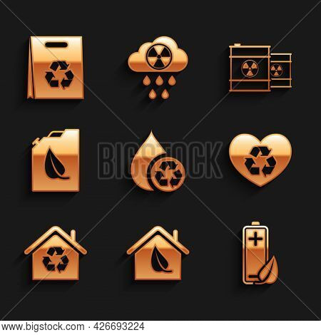 Set Recycle Clean Aqua, Eco Friendly House, Nature Leaf And Battery, Heart, House With Recycling, Bi
