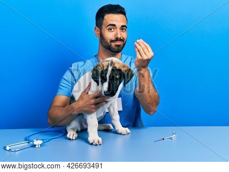 Handsome hispanic veterinary man with beard checking dog health doing money gesture with hands, asking for salary payment, millionaire business