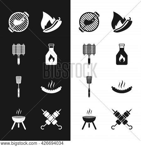 Set Ketchup Bottle, Barbecue Steel Grid, Grill With Steak, Hot Chili Pepper Pod, Spatula, Sausage, G