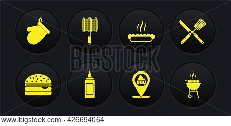 Set Burger, Crossed Knife And Spatula, Mustard Bottle, Location With Barbecue, Hotdog Sandwich, Barb