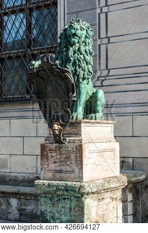 Munich, Germany - Oct 17, 2020: Bavarian Lion Statue At Munich Alte Residenz Palace In Odeonplatz. M