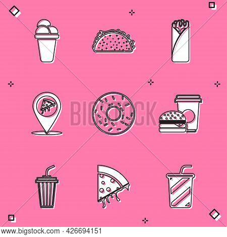 Set Ice Cream, Taco With Tortilla, Burrito, Location Slice Pizza, Donut, Coffee And Burger, Glass Wa