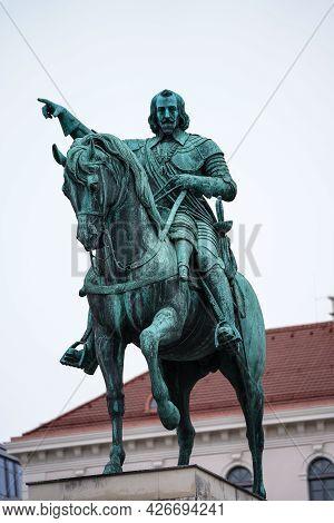 Munich, Germany - Oct 17, 2020: Statue Of Maximilian Churfuerst Von Bayern. Wittelsbacher Square In