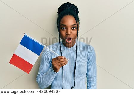 African american woman with braided hair holding france flag scared and amazed with open mouth for surprise, disbelief face