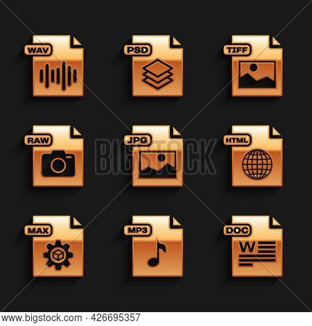Set Jpg File Document, Mp3, Doc, Html, Max, Raw, Tiff And Wav Icon. Vector