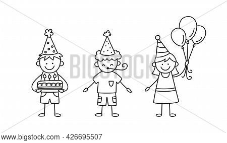 A Group Of Kids At A Birthday Party. Children In Festive Hats With Cake, Balloons And Blower On Holi