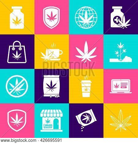 Set Marijuana Or Cannabis Leaf, Online Buying Marijuana, Planting, Legalize, Cup Tea With, Shopping