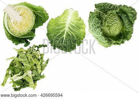 Savoy Cabbage Isolated On White Background With. Top View With Copy Space For Your Text. Flat Lay