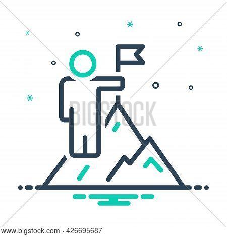 Mix Icon For Overcoming Win Vanquish Conquer Achievement Cliff Adventure Successful Mountain