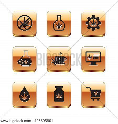 Set Stop Marijuana, Marijuana Or Cannabis Leaf Oil, Medical Bottle With, Cup Tea, Test Tube, Shoppin