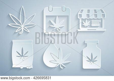 Set Marijuana Or Cannabis Leaf Oil, Online Buying Marijuana, Seeds, Medical Bottle With, Calendar An