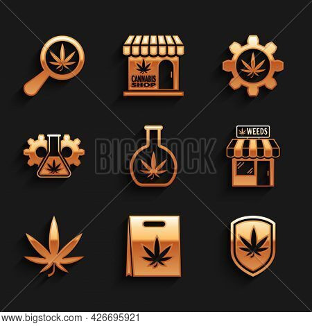 Set Test Tube With Marijuana, Shopping Bag Of, Shield And, Marijuana Cannabis Store, Leaf, And Magni
