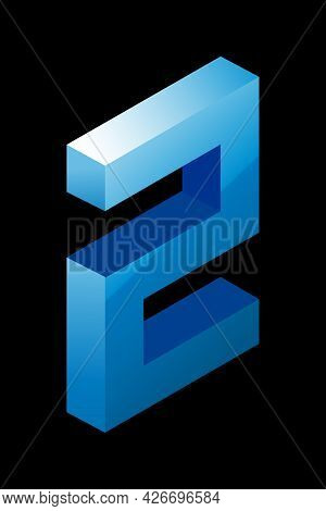 Gradient Blue Number 2 In Isometric Style. Isolated On Black Background. Water Texture. Learning Num