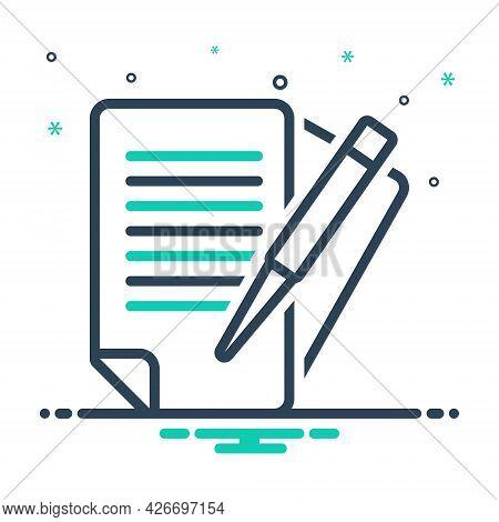 Mix Icon For Paperwork Bureaucracy Documents Overwork Education Pen