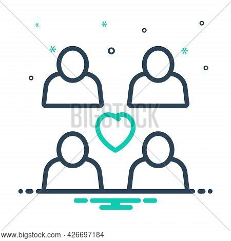 Mix Icon For Relationship Couple Duet Spouse Pair Love Person Family Heart Unity