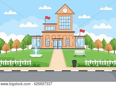 Back To School, Modern Building And View Front Yard With Green Grass And Trees. Background Landing P