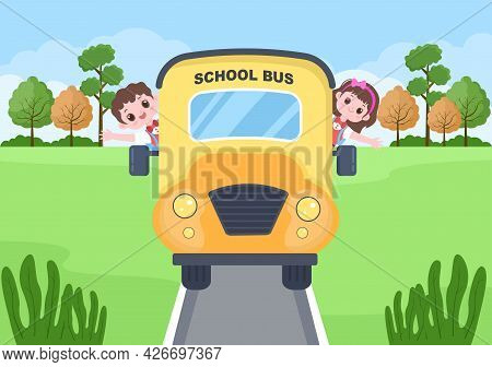 Back To School, Modern Building And Bus In The Front Yard With Some Children. Background Landing Pag