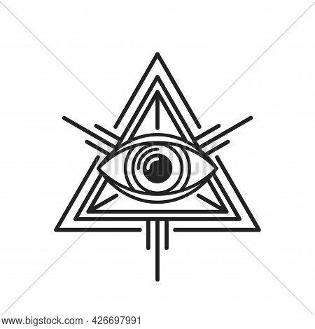Eye Of Providence Masonic Sign On White Background. Vector