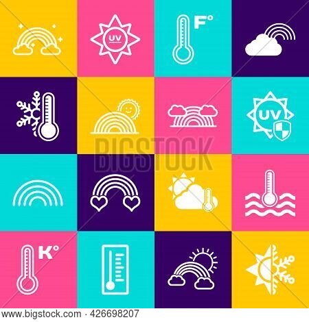 Set Sun And Snowflake, Water Thermometer, Uv Protection, Meteorology, Rainbow With Sun, Thermometer,
