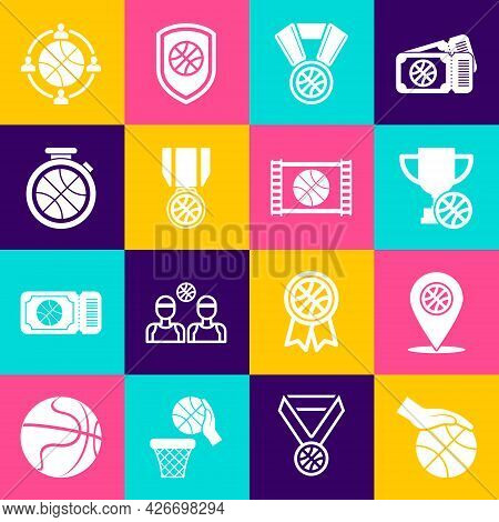 Set Hand With Basketball Ball, Location, Award Cup, Basketball Medal, Stopwatch, Planning Strategy A