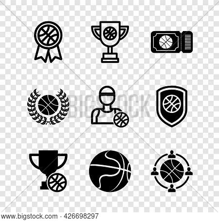 Set Basketball Award, Award Cup With Basketball, Game Ticket, Planning Strategy, And Player Icon. Ve