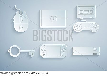 Set Portable Video Game Console, Game With Joystick, Ancient Key For, Video, Chest And Computer Mous