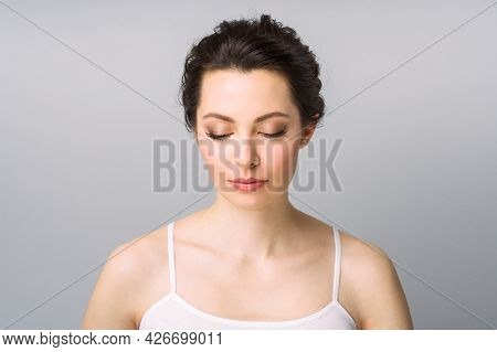 Young Beautiful Woman With Perfect Skin, Cosmetology, Beauty And Spa Concept.