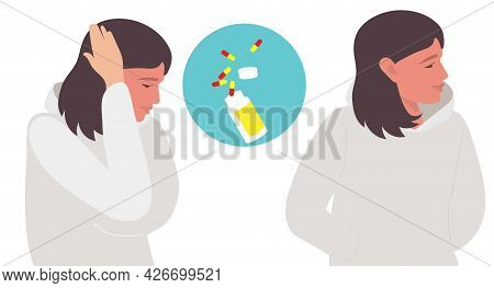 Headache Treatment. Young Woman Holds Her Hand To Her Head, Experiencing Headache And Woman Satisfie