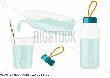 Glass Water Bottle And Water Being Poured From Bottle To Glass. Eco Friendly Drink Containers. Alter