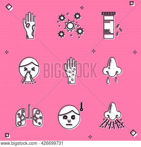 Set Hand With Psoriasis Or Eczema, Bacteria, Medicine Bottle Pills, Handkerchief To His Runny Nose,