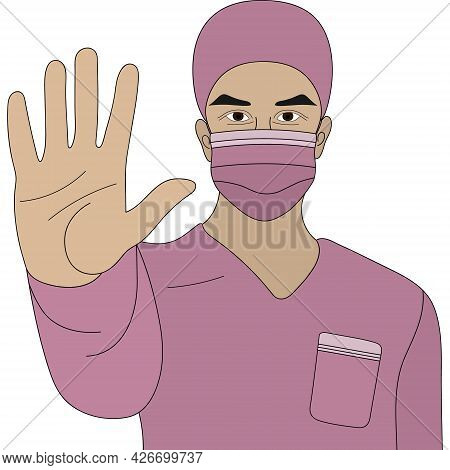 Asian Doctor. A Paramedic In A Mask And Uniform Shows A Hand Gesture - Stop. Colored Vector Illustra