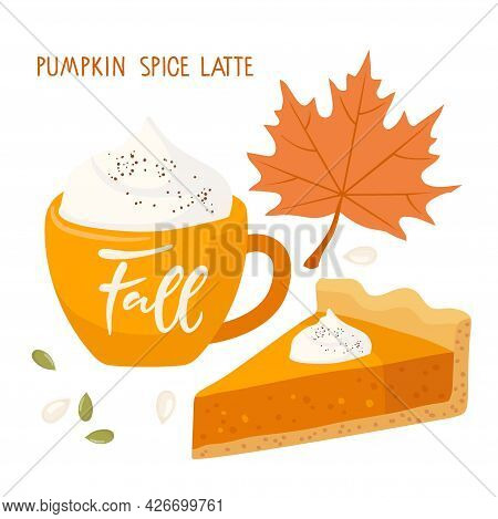 Pumpkin Latte In Cup And Pumpkin Pie And Fallen Red Maple Leaf. Food And Drinks Isolated. Autumn Del