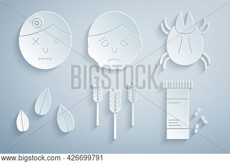 Set Wheat, Parasite Mite, Sesame Seeds, Medicine Bottle And Pills, Inflammation On Face And Man Havi
