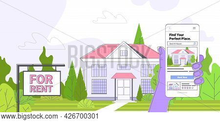 Human Hand Using Mobile App For Searching Houses For Renting Or Buying Online Real Estate Property M