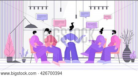 Businesspeople Team Discussing During Meeting Chat Bubble Communication Brainstorming Teamwork Conce