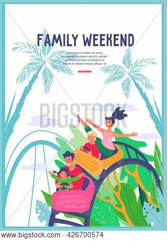 Family Weekend In Amusement Park Banner Or Card Template, Flat Vector Illustration. People Riding Ro