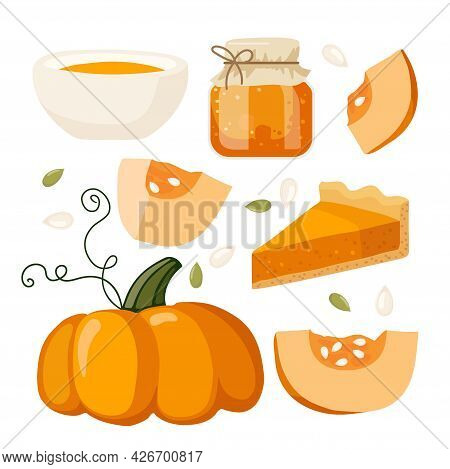 Gifts Of Autumn. Pumpkin Seasonal Flavored Products. Pumpkin, Pie, Jam, Cream Soup In Bowl. Food And