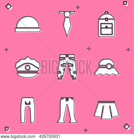 Set Beanie Hat, Tie, Backpack, Police Cap With Cockade, Camouflage Cargo Pants, Elegant Women, Pants
