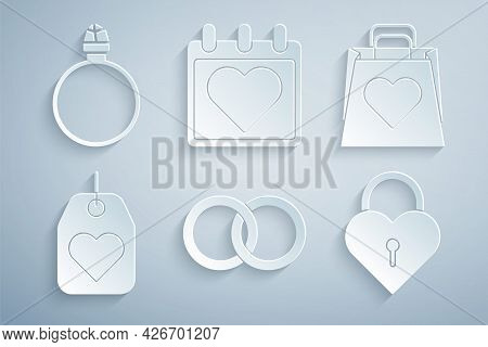 Set Wedding Rings, Shopping Bag With Heart, Heart Tag, Castle The Shape Of, Calendar And Diamond Eng