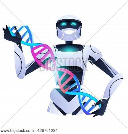 Robot Scientist Holding Dna Spiral Robotic Researcher Making Experiment In Lab Dna Testing Genetic D