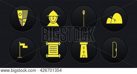 Set Medieval Flag, Bale Of Hay And Rake, Decree, Parchment, Scroll, Castle Tower, Chained Mace Ball,